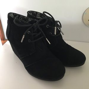 Black Toms wedge booties